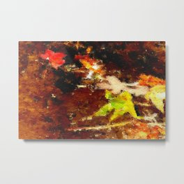 Autumn Leaves in a Stream Metal Print