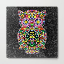 Owl Zentangle Floral   Metal Print