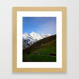 Switzerland: Jungfrau Mountains and Trains Framed Art Print