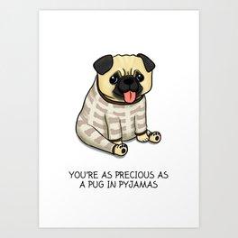 Precious Pug in Pyjamas Art Print