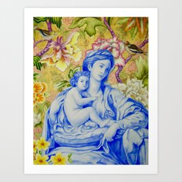 Madonna and Child with Finches Art Print