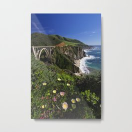 Wildflower Bloom at the Bixby Bridge, Big Sur Coast, California Metal Print