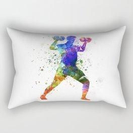 Man exercising weight training Rectangular Pillow
