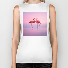 Flamingos in Pink Biker Tank