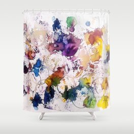 """Abstract Yellow Blue Violet spots """"Sleep"""" Shower Curtain"""