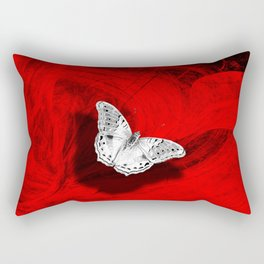 Silver butterfly emerging from the red depths Rectangular Pillow