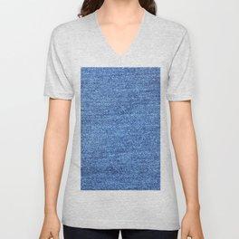 blue denim Unisex V-Neck