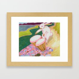 Bongo Bunny on a Pebble Beach Framed Art Print