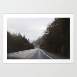 Overcast Fall Road Art Print