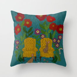 Rabbits in Chairs Throw Pillow
