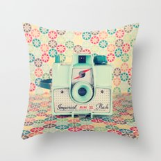 Film Mint Camera on a Colourful Retro Background  Throw Pillow