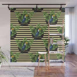 Toucan and banana leaves on the striped background seamless pattern. Exotic tropical background. Wall Mural