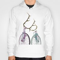bicycles Hoodies featuring Bicycles in Love by Wyatt Design