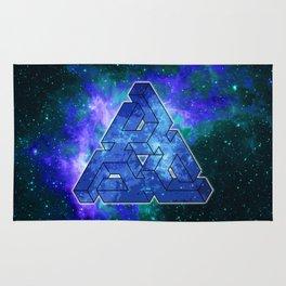 Abstract Blue Space Triangle Nebula Rug
