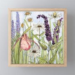 Lady Slipper Orchid Woodland Wildflower Watercolor Framed Mini Art Print
