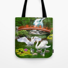 Swans and Baby Cygnets in an Oriental Landscape Tote Bag
