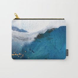 In the Surf: a vibrant minimal abstract painting in blues and gold Carry-All Pouch