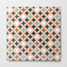 Retro mid-century circles check pastel colors Metal Print