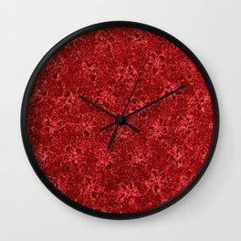 Vintage Floral Ribbon Red Wall Clock
