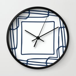 Decorative blue and white abstract squares Wall Clock