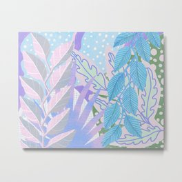 Modern Jungle Plants - Blue, Purple Metal Print
