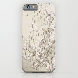 Sepia vintage world map with cities iPhone Case