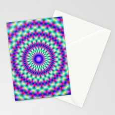 Pink and Blue Chevron Rings Stationery Cards