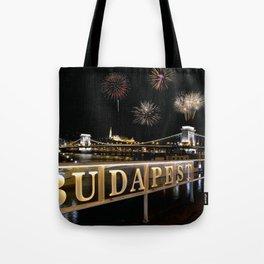 Chain bridge  with fireworks on Budapest city. Tote Bag