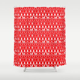 Red & White Ugly Sweater Nordic Christmas Knit Pattern Shower Curtain