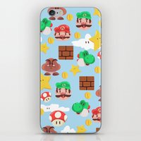 super mario iPhone & iPod Skins featuring Super Mario by Clef