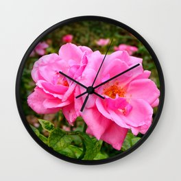 Two Pink Flowers Wall Clock