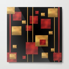 Red and Gold Foil Blocks Metal Print