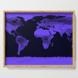 Periwinkle World Map Serving Tray