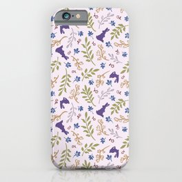 Ditsy Bunnies Amok - Purple Bunnies, Pink Background iPhone Case