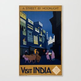 Vintage Visit India Travel Poster Canvas Print