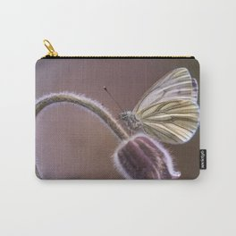 White butterfly on pasque flower Carry-All Pouch