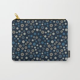 Festive Blue Snowflake Pattern Carry-All Pouch