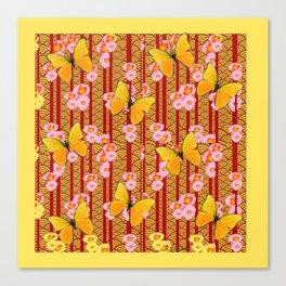 Yellow Art Deco Butterflies Pink Floral Pattern Art Canvas Print