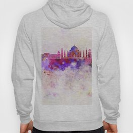 Agra skyline in watercolor background Hoody