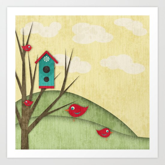 Shabby Sweet Tweet On The Hillside Art Print