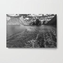 A boat ride in the morning at Milford Sound in black and white Metal Print