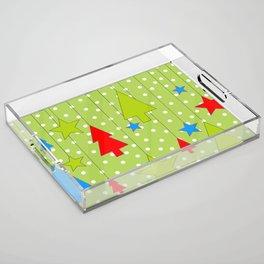Christmas Trees and Stars Print with Polka Dot Background Acrylic Tray