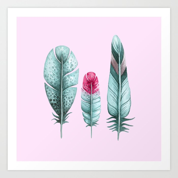 Watercolor feathers (pink) Art Print