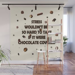 Falling chocolates with cream background Wall Mural