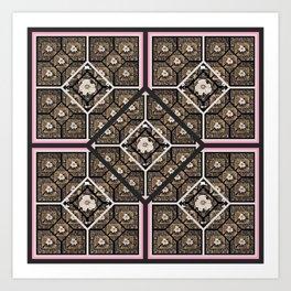 Cherokee Rose Pattern 2 black brown pink Art Print