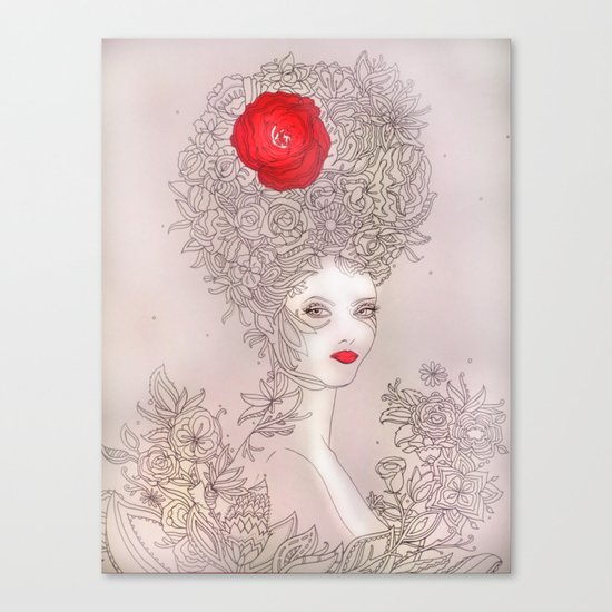 Rose in hair Canvas Print