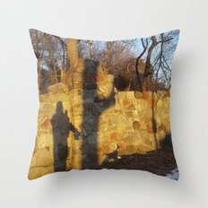 Just a shadow of ourselves - a walk with my dog, Madison, WI USA Throw Pillow