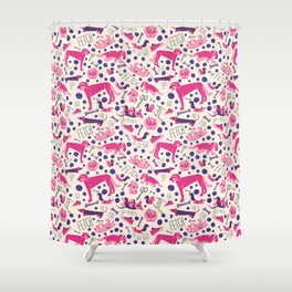 Park dogs in Pink Shower Curtain