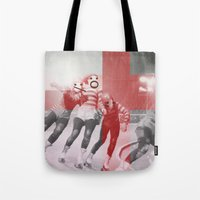 roller derby Tote Bags featuring Punchtuation Roller Derby by Vin Zzep