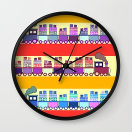 Colorful trains with Christmas gifts Wall Clock